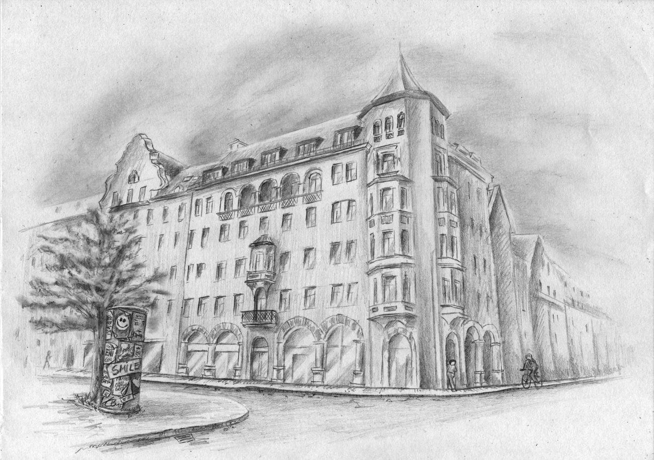 Haus Zeichnen  Häusserfassade Haus Gebäude Altstadt zeichnen