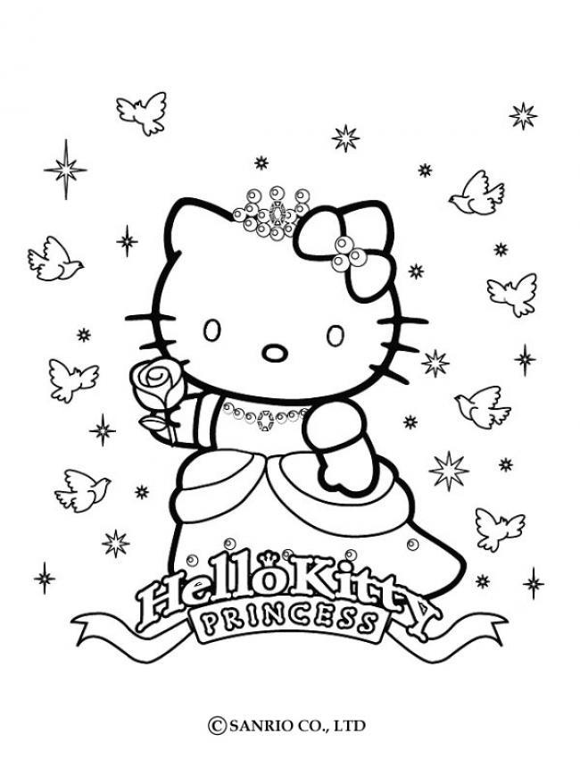Hello Kitty Ausmalbilder  Prinzessin kitty kostenlos anmalen zum ausmalen de