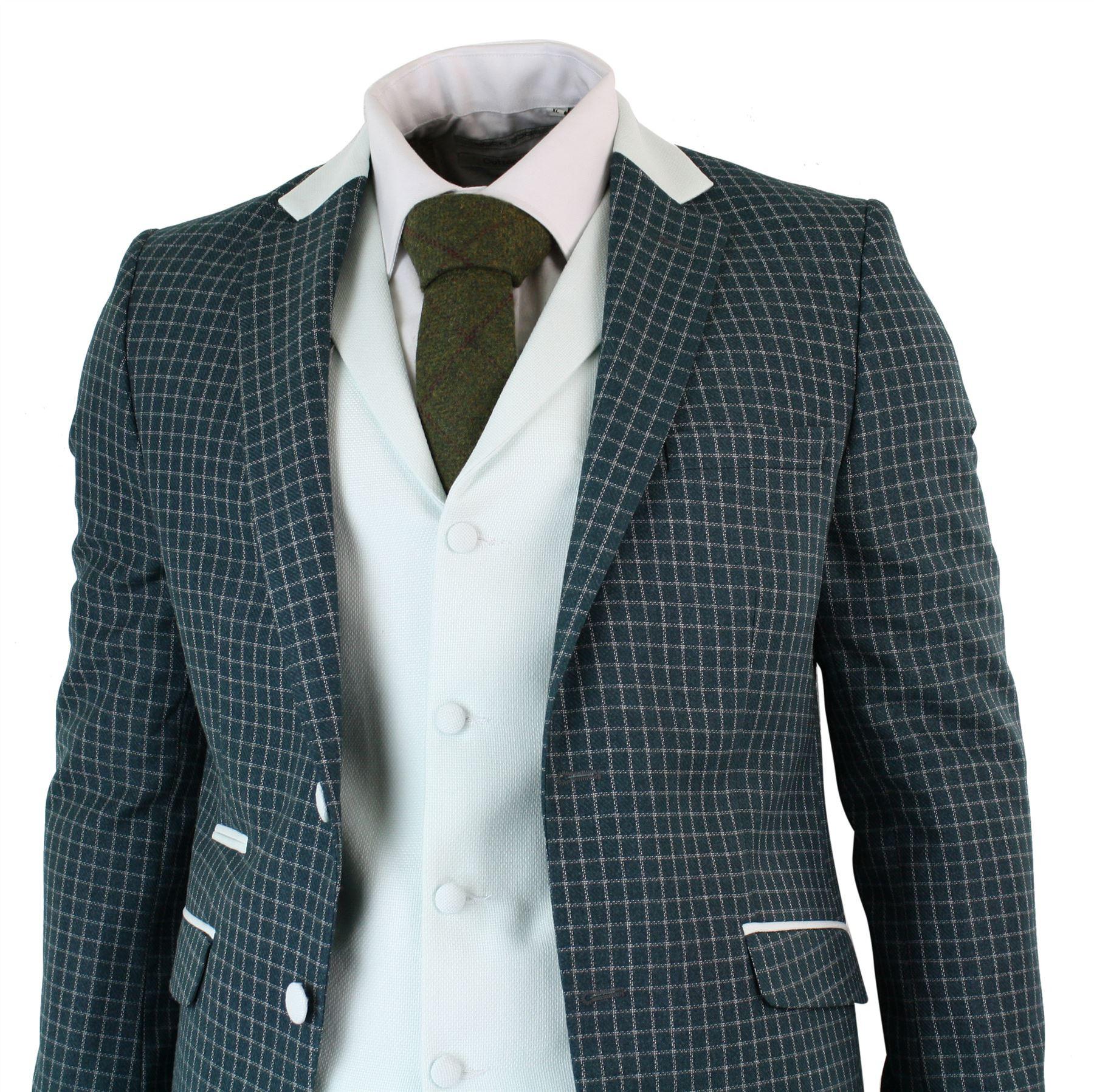 Herrenanzug Hochzeit  Herrenanzug 3 teilig Olive Kariert Vintage Tailored Fit