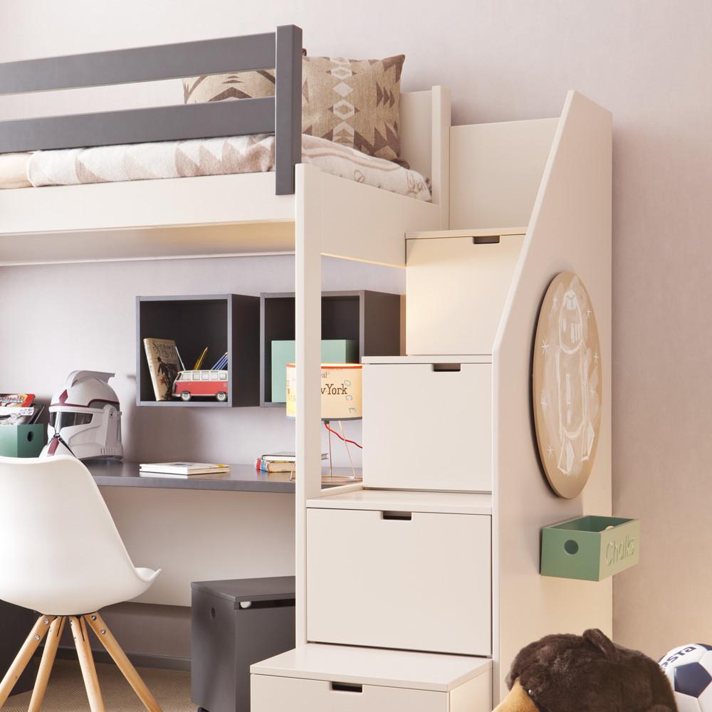 Hochbett Mit Schreibtisch  Asoral Hochbett LOFT XL LISO mit Treppe Schreibtisch 4