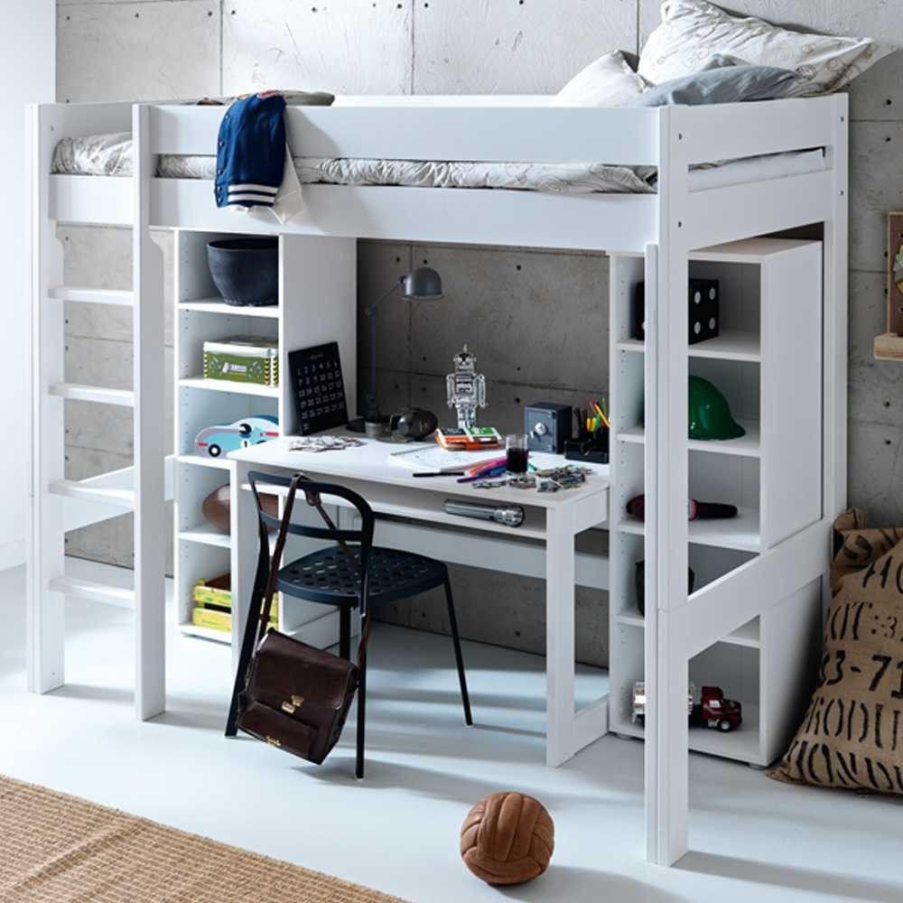 Hochbett Mit Schreibtisch  Hochbett Beverli mit Schreibtisch 4 teilig