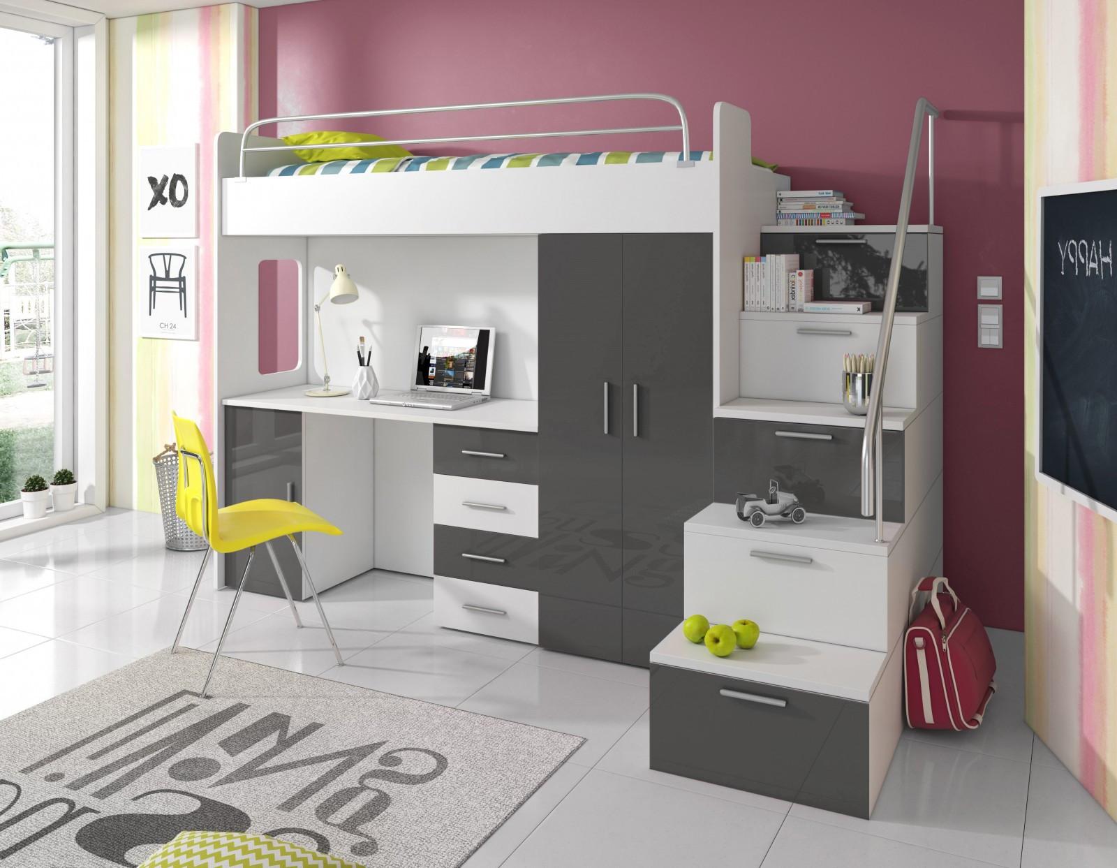Hochbett Mit Schreibtisch  Hochbett mit Schrank SKY