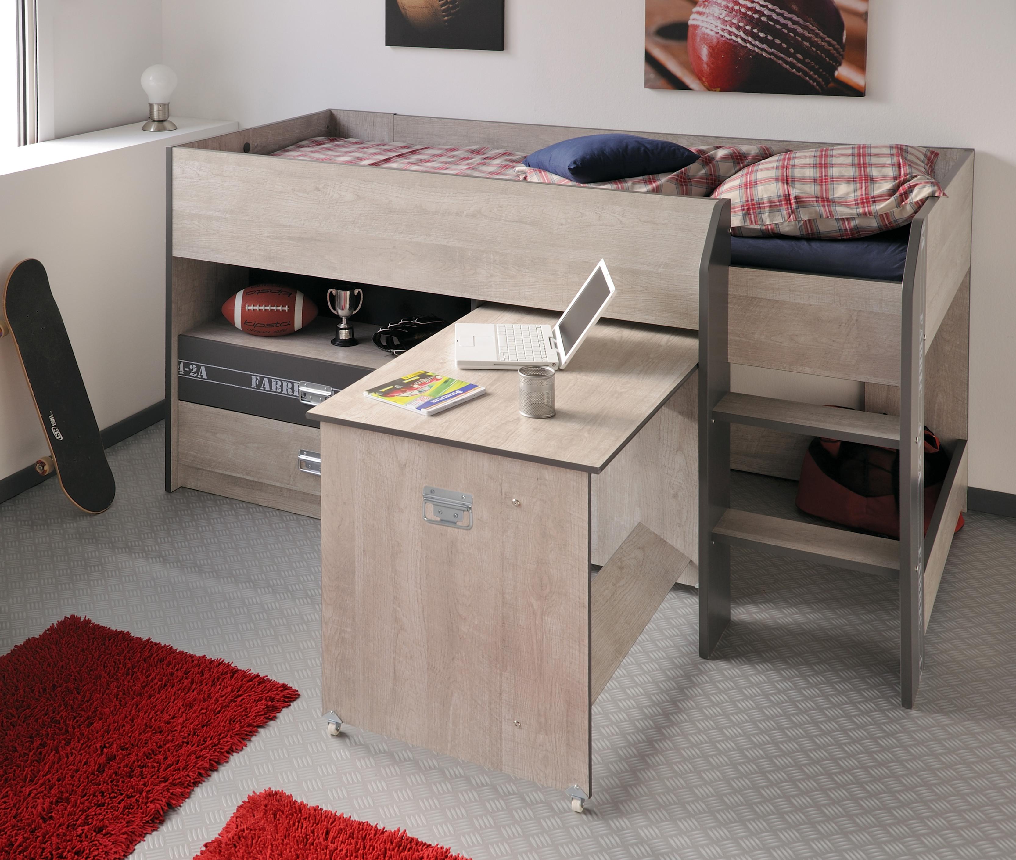 Hochbett Mit Schreibtisch  Hochbett mit Schreibtisch Fabric9