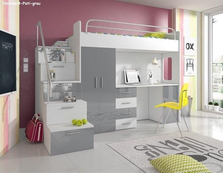 Hochbett Mit Schreibtisch  PATI Hochbett mit Schreibtisch Schrank und Regal in der