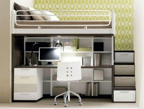 Hochbett Mit Schreibtisch  hochbett und schreibtisch mit regalen platzsparend