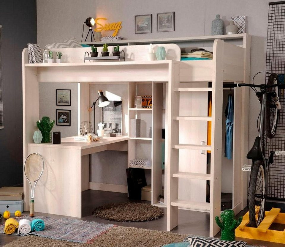 Hochbett Mit Schreibtisch  Parisot Hochbett Higher inkl Schrank und Schreibtisch