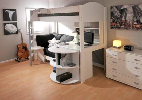 Hochbett Mit Schreibtisch  Kinder Hochbett mit Schreibtisch und Lagerschränken