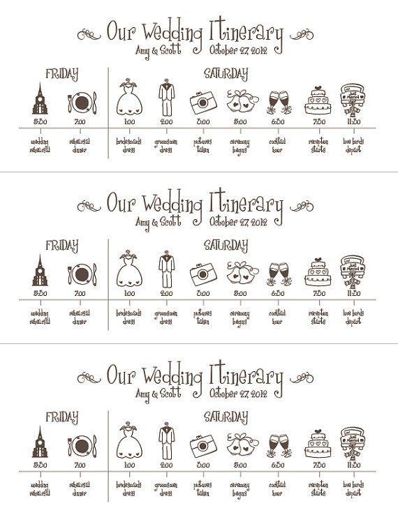Hochzeit Ablauf  Hochzeit TimelineDruckbare digitale Datei Zeitplan von