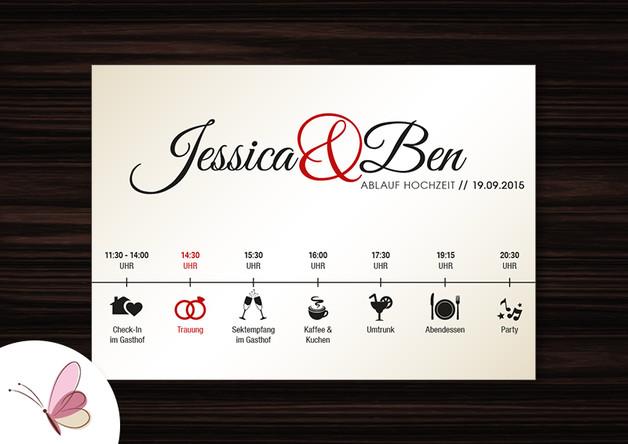 Hochzeit Ablauf  Einladungskarten GOLD Zeitplan Ablauf Hochzeit Karte