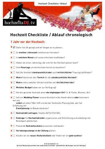Hochzeit Ablauf  Hochzeit Checkliste Ablauf chronologisch HochzeitsDJ