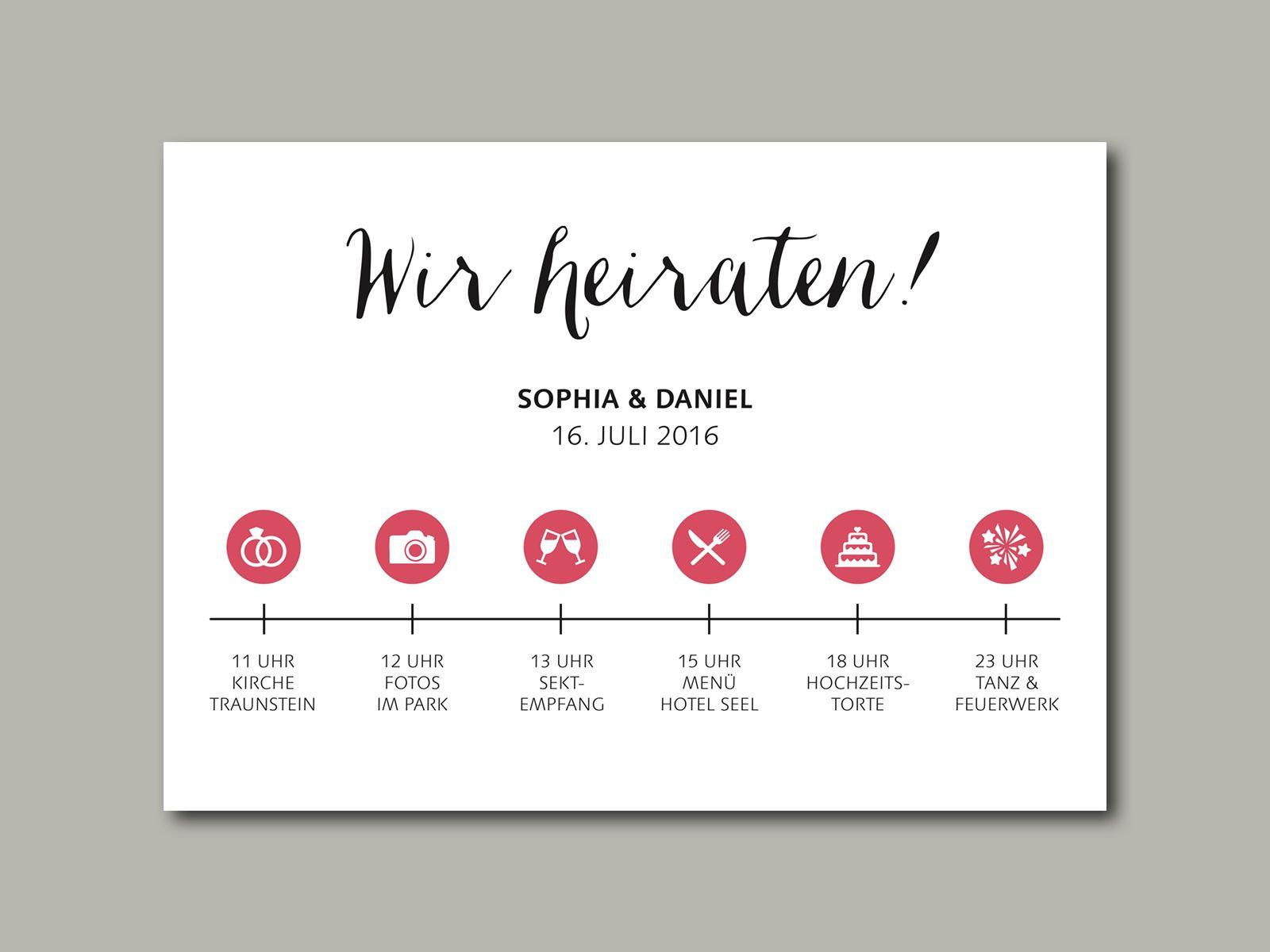 Hochzeit Ablauf  Hochzeitseinladung TIMELINE in 2019