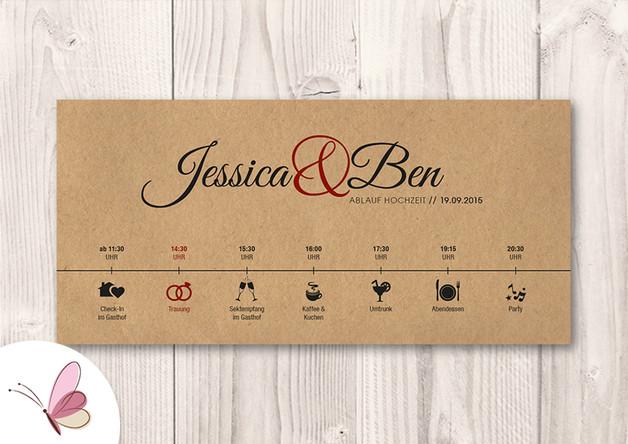 Hochzeit Ablauf  Einladungskarten Zeitplan Ablauf Hochzeit Karte