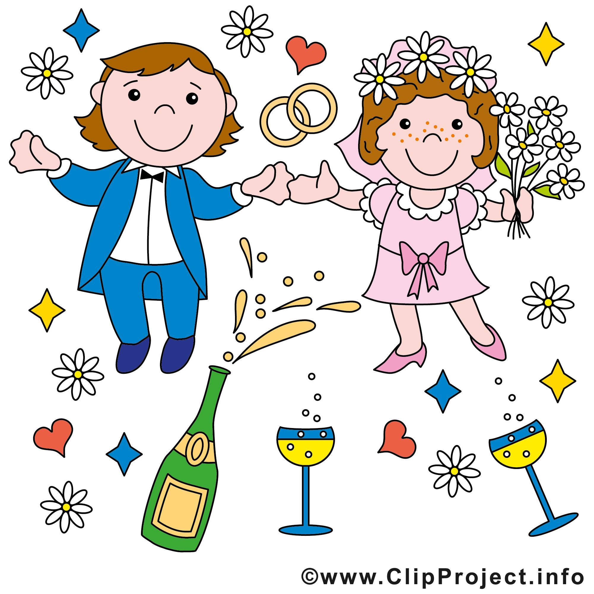 Hochzeit Bilder Comic  Brautpaar ic Bild gratis