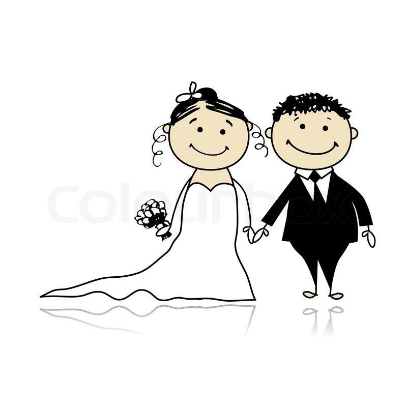 Hochzeit Bilder Comic  Hochzeit Braut und Bräutigam Stock Vektor