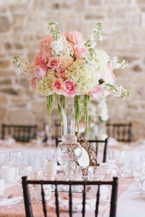 Hochzeit Blumen Tischdeko  vintage hochzeit tischdeko blumen rosen hortensien