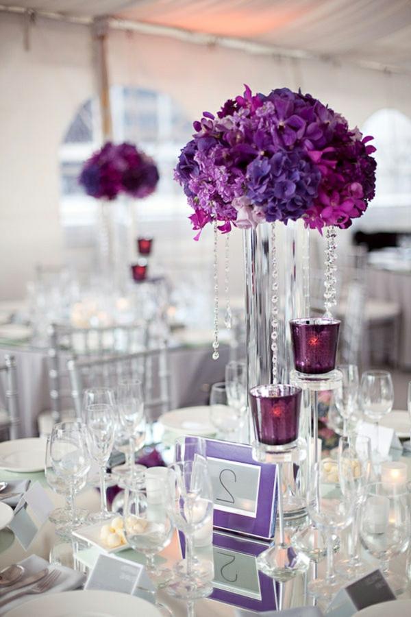 Hochzeit Blumen Tischdeko  Tischdeko zur Hochzeit in lila Farbe 34 Bilder