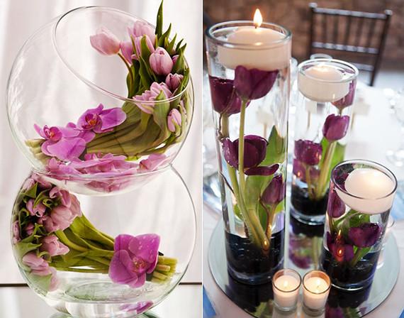 Hochzeit Blumendeko  tisch blumendeko hochzeit mit tulpen coole tischdeko ideen