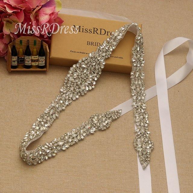 Hochzeit Diamant  MissRDress Diamant Hochzeit Gürtel 106 cm Länge Kristall