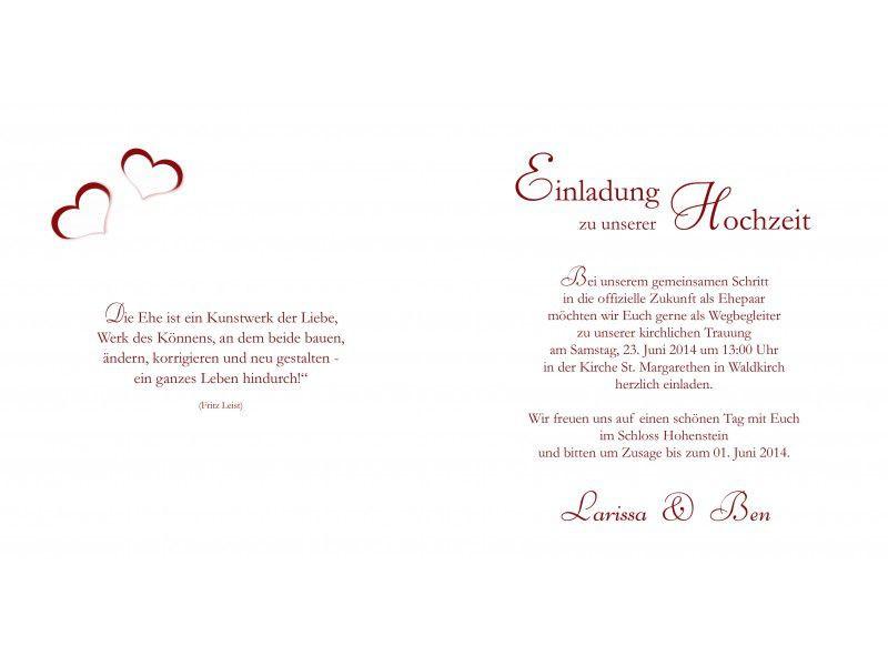 Hochzeit Einladungskarten Text  einladungskarten Einladungskarten hochzeit text