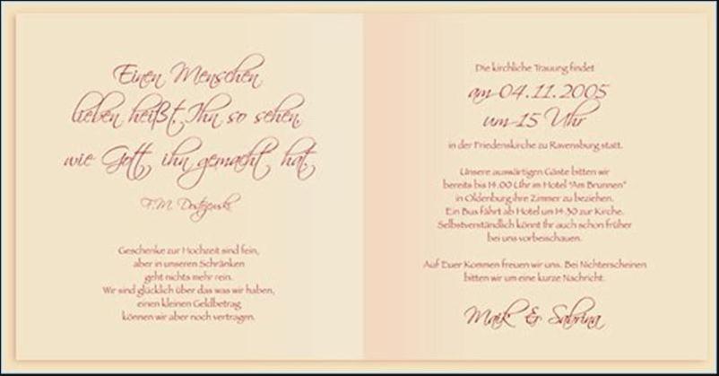 Hochzeit Einladungskarten Text  Text Einladungskarten Hochzeit