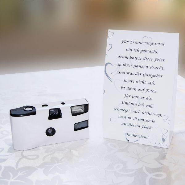 Hochzeit Einwegkamera  Tischkarte zur Einwegkamera weiß Hochzeit