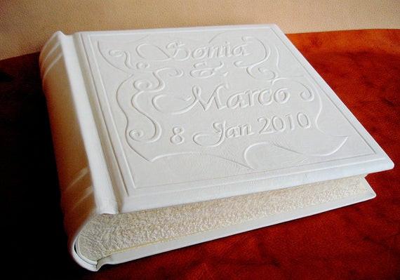 Hochzeit Fotoalbum  Personalisierte weißem Leder Hochzeit Fotoalbum 11 x 11 in