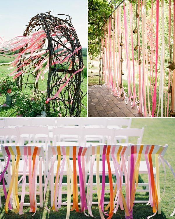 Hochzeit Gartenparty  Streifen Tischdeko Inspiration Bunte Bänder für Hochzeit