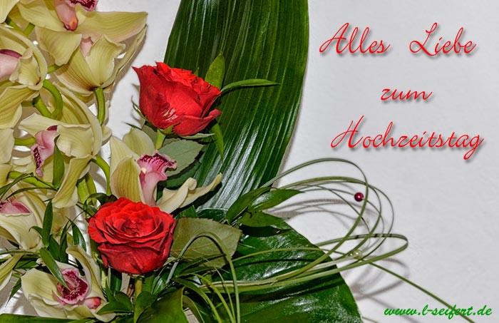 Hochzeit Grüße  Hochzeitstag Grüße mit einem Blumenstrauß und den besten