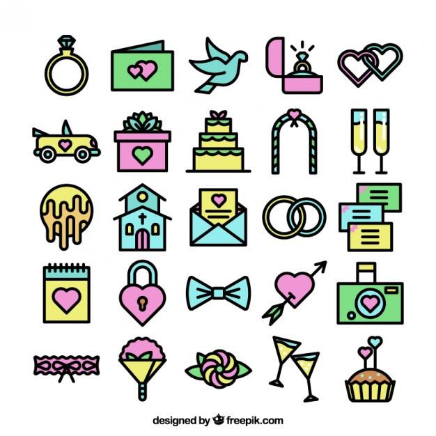 Hochzeit Icon  Bunte Hochzeit Icons Sammlung