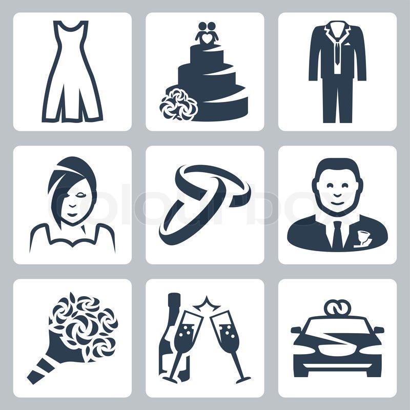 Hochzeit Icon  Vektor isoliert Hochzeit Icons set Vektorgrafik