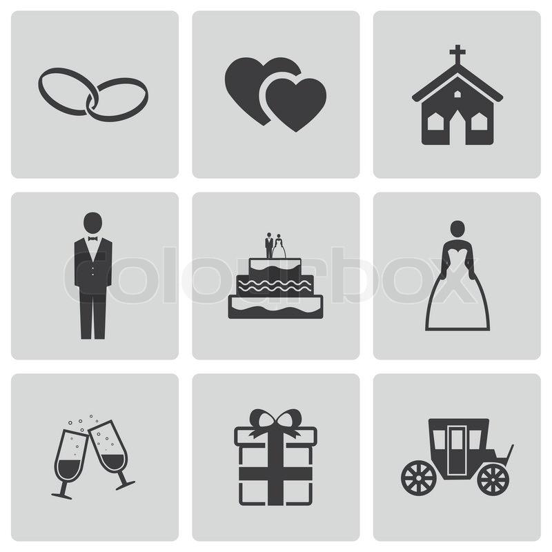 Hochzeit Icon  Vektor schwarz Hochzeit Icons set Vektorgrafik