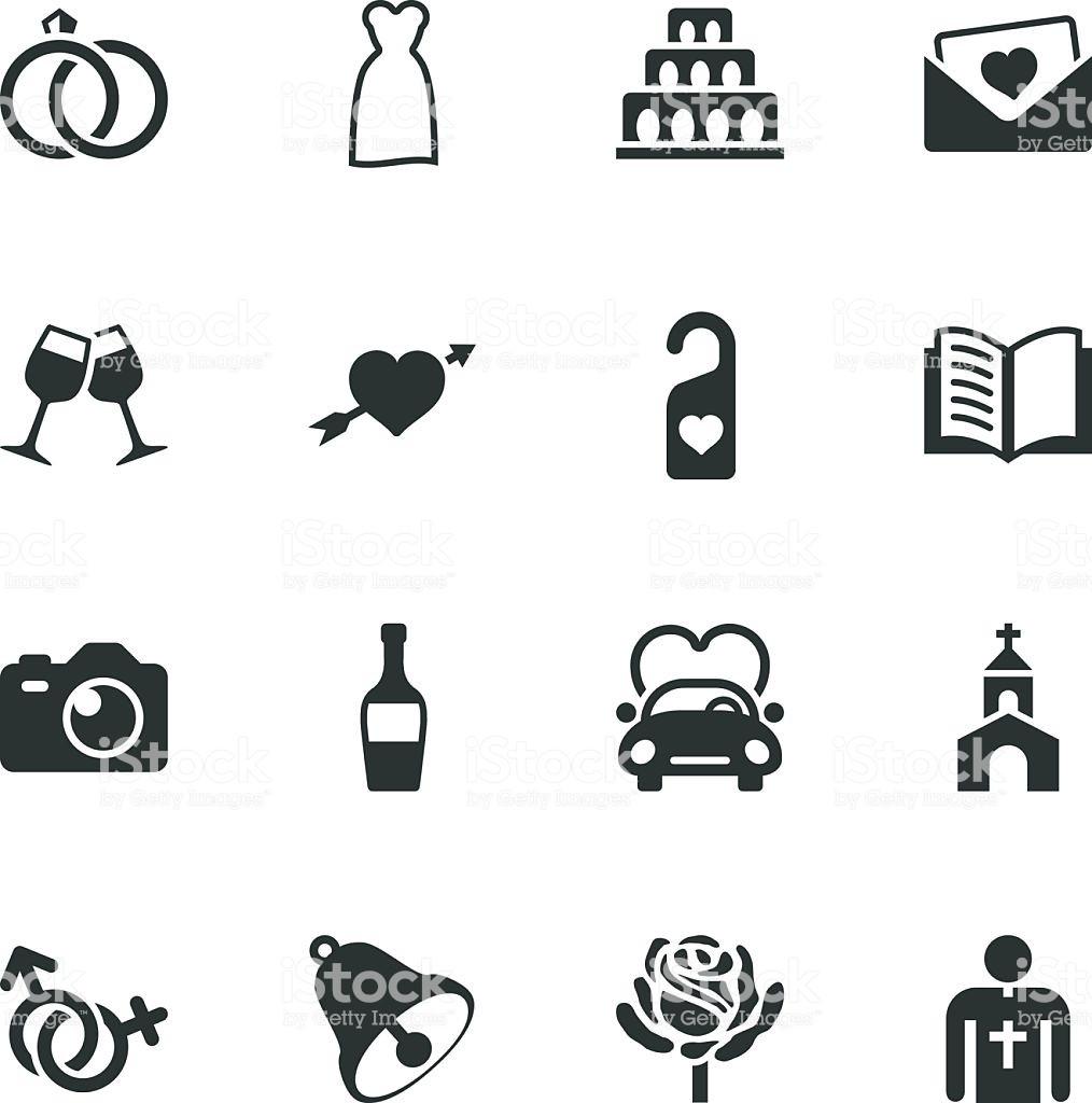 Hochzeit Icon  Hochzeit Silhouette Icons Stock Vektor Art und mehr Bilder