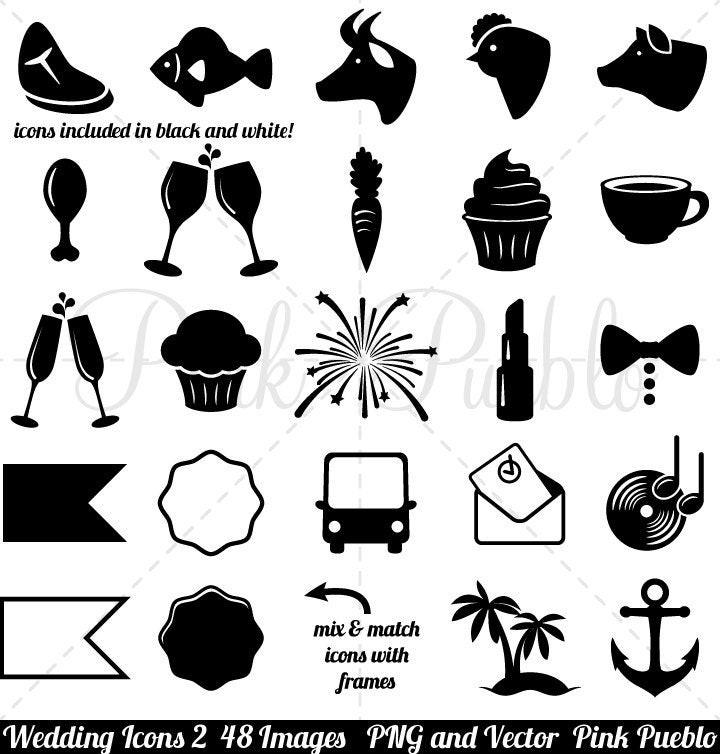 Hochzeit Icon  Hochzeit Symbole Clipart ClipArt 2 Clip Jahrgang schwarz und