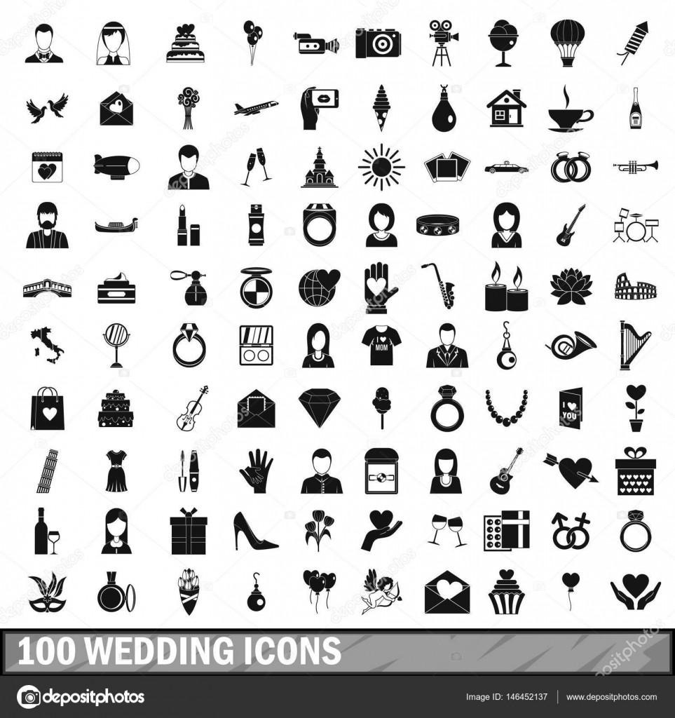 Hochzeit Icon  100 Hochzeit Icons Set einfachen Stil — Stockvektor