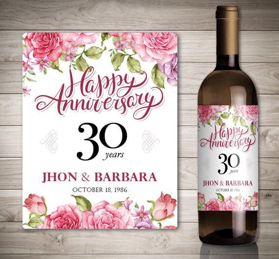 Hochzeit Jubiläum  Hochzeit Jubiläum Wein Etiketten personalisierte Jahrestag