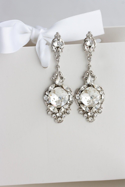 Hochzeit Ohrringe  Crystal Wedding Earrings Vintage Bridal Earrings Swarovski