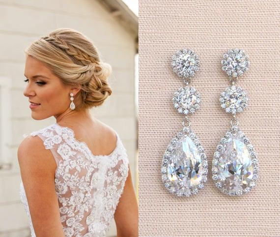 Hochzeit Ohrringe  Kristall Braut Ohrringe Hochzeitsohrringe lange Braut