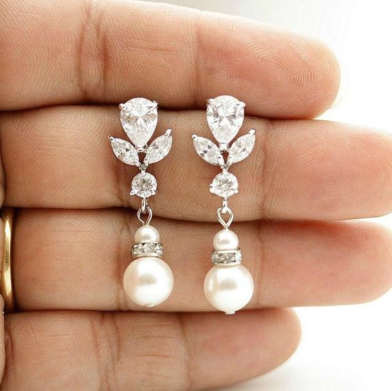Hochzeit Ohrringe  Hochzeit Tropfen Ohrringe Braut Ohrringe Hochzeitsschmuck