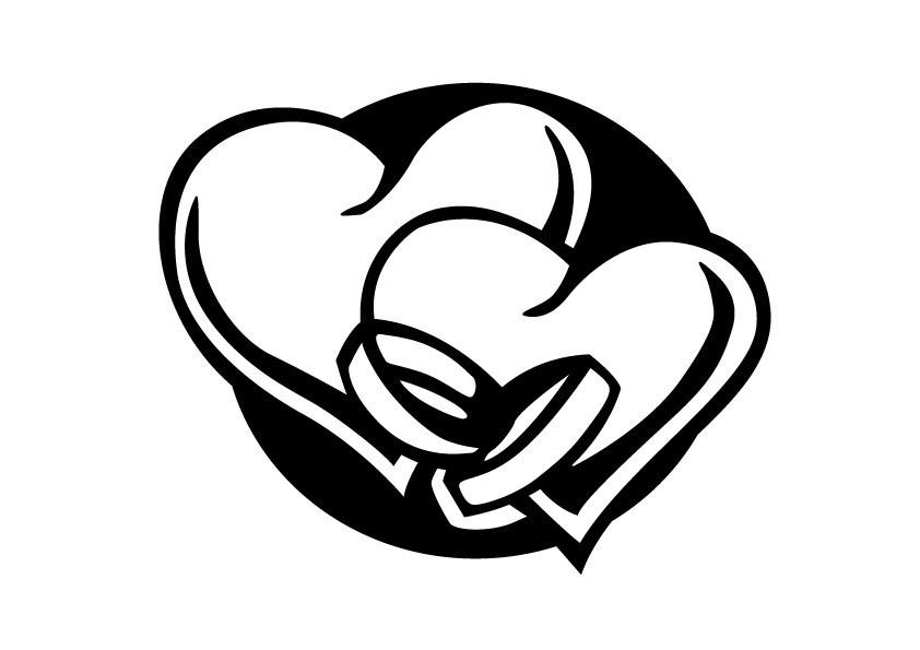 Hochzeit Ringe Symbol Schwarz Weiß  HappyFabric Plotdatei Ringe mit Herzen Download von