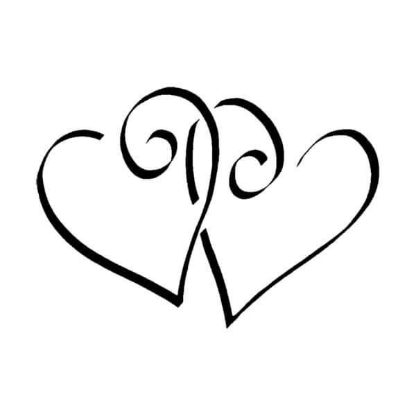 """Hochzeit Ringe Symbol Schwarz Weiß  Stempel """"Zwei Herzen"""" für DIY Hochzeitskarten weddix"""