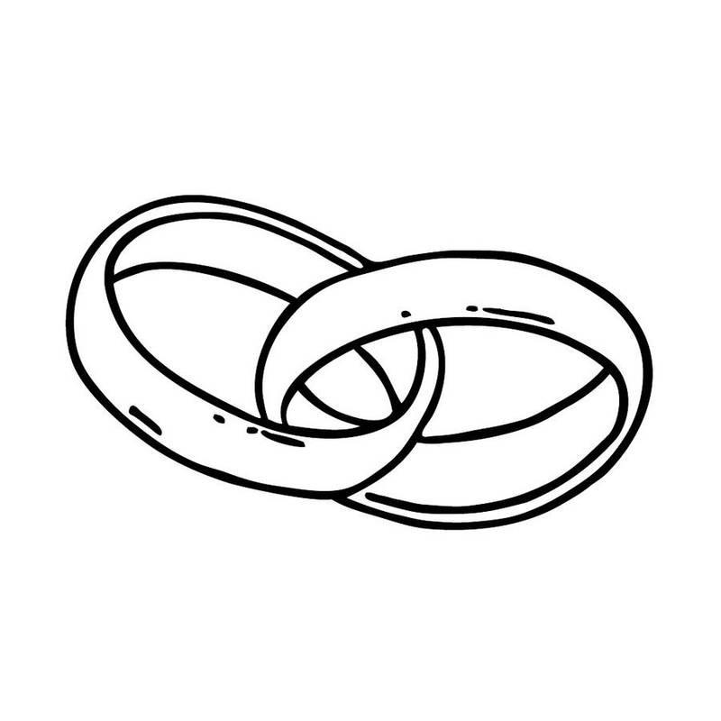 Hochzeit Ringe Symbol Schwarz Weiß  Stempel mit zwei ineinander gelegten Ringen für