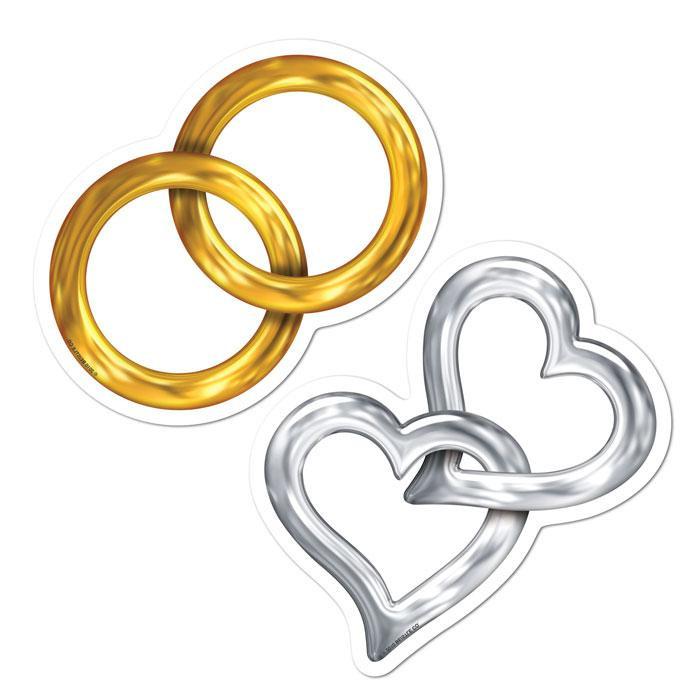 Hochzeit Ringe Symbol Schwarz Weiß  Wanddeko Hochzeit Ringe und Herzen 10 tlg günstig