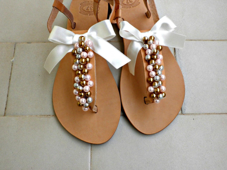 Hochzeit Sandalen  Hochzeit Perlen Sandalen Sandalen Gold rosa Perlen und