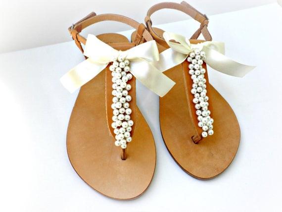 Hochzeit Sandalen  Hochzeit Sandalen griechische Ledersandalen mit Elfenbein