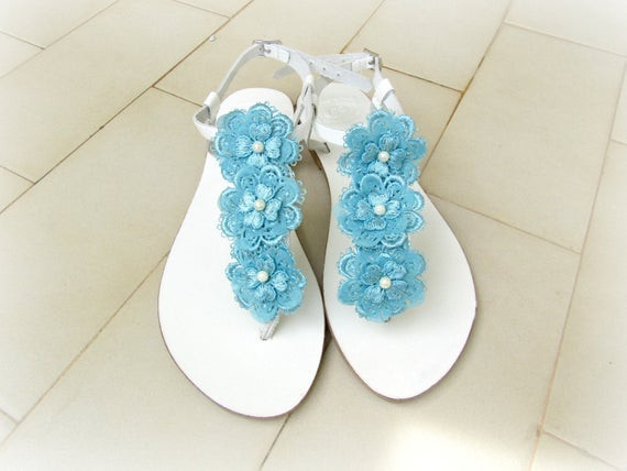 Hochzeit Sandalen  Hochzeit Sandalen weiße Sandalen mit blauer Spitze Blumen