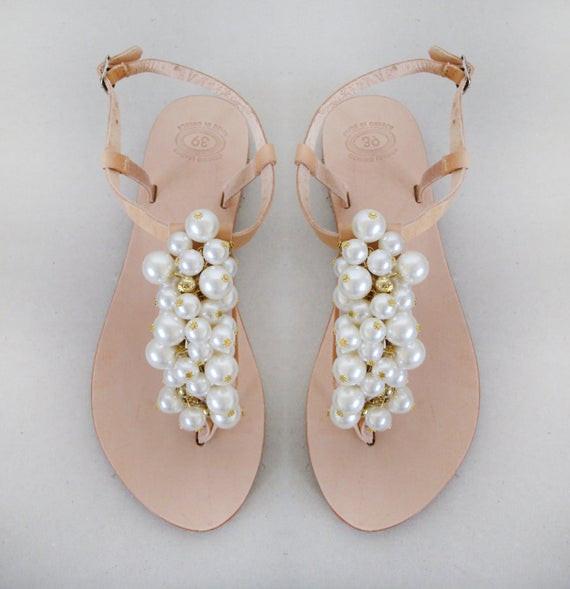 Hochzeit Sandalen  Hochzeit Schuhe handgemachte Sandalen verziert mit Perlen