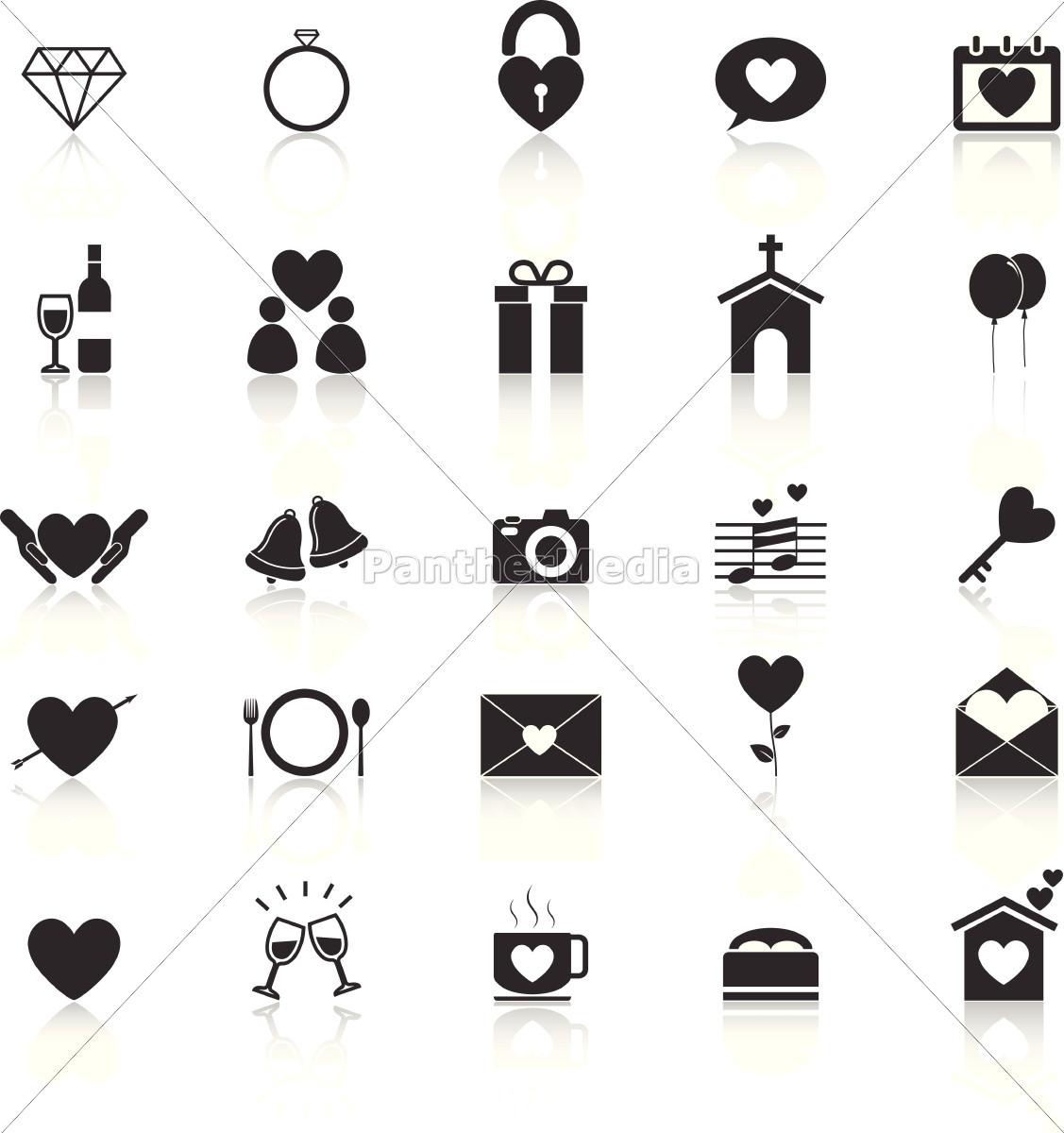 Hochzeit Symbole  hochzeit symbole mit reflektieren auf weißem Stockfoto