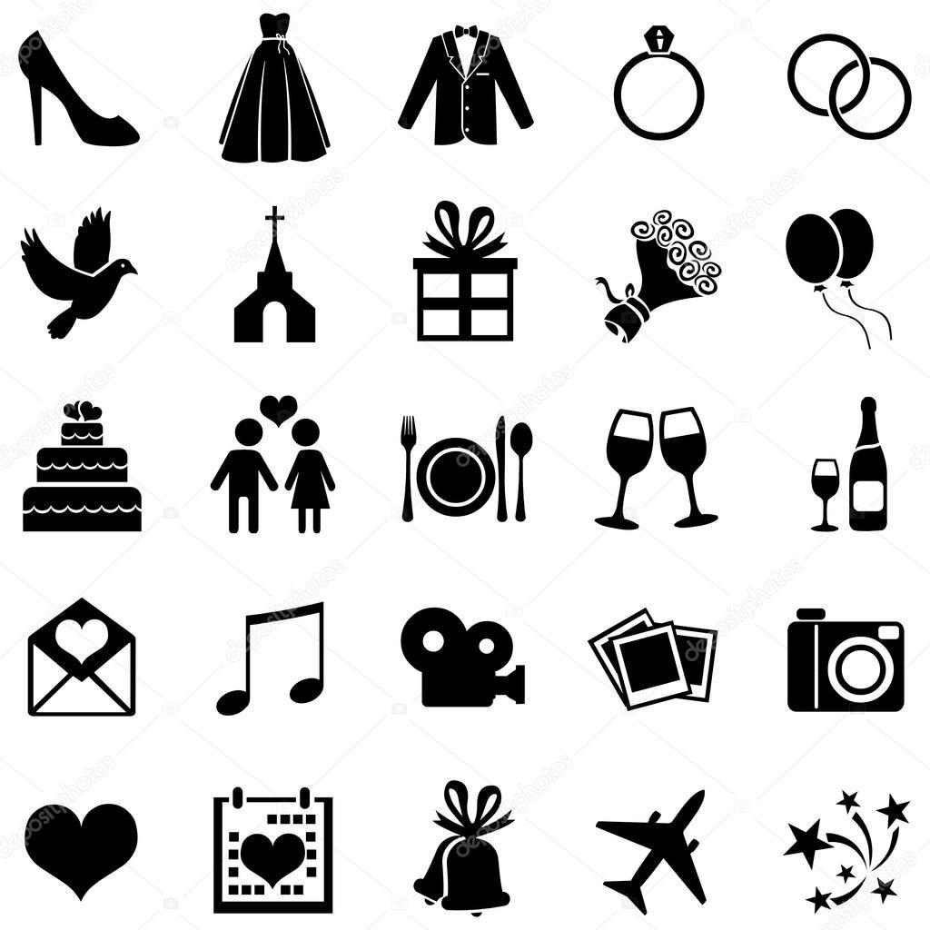 Hochzeit Symbole  Satz von 25 Hochzeit Symbole — Stockvektor © nikiteev