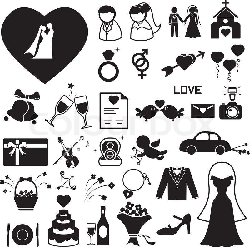 Hochzeit Symbole  Abbildung eps10 set Hochzeit Symbole