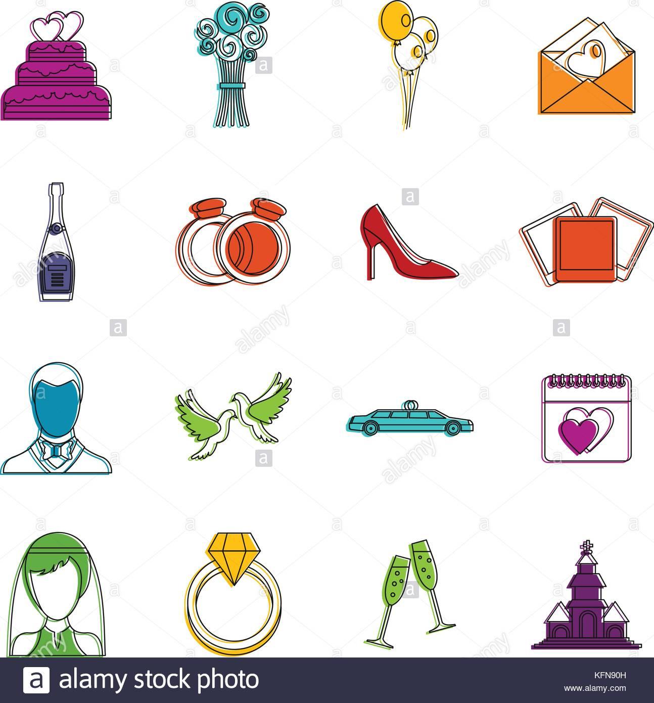 Hochzeit Symbole  Hochzeit Symbole doodle einrichten Vektor Abbildung Bild